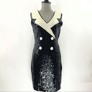 Vtg Sequin Sleeveless Tuxedo Dress